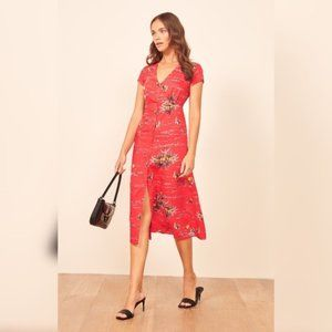 Reformation Denise Red Tropical Short Sleeve Button Front A-line Midi Dress XS